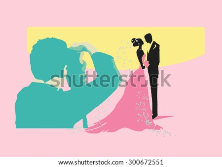 Vector illustration of photographer with bride and groom - stock vector