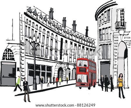 Vector illustration of PIccadilly buildings, London with red bus. - stock vector