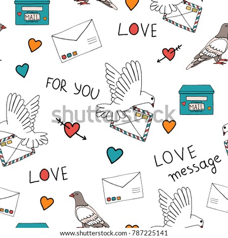 Vector illustration pigeon carrying letter stamps stock vector vector illustration of pigeon carrying a letter with stamps post box letter hearts spiritdancerdesigns Gallery
