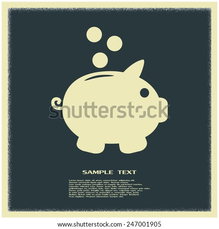 Vector illustration of piggy bank pig  - stock vector