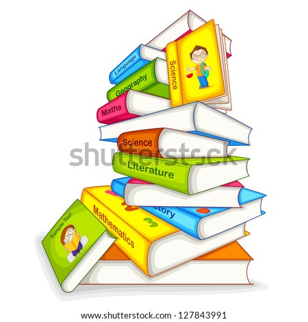 vector illustration of pile of book of different subject - stock vector