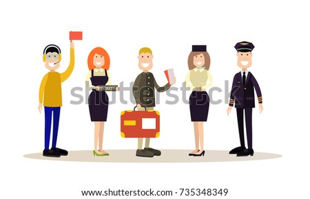 Vector illustration of pilot, stewardess, ramp agent, ticket agent and passenger with luggage. Airport people flat style design element, icon isolated on white background.