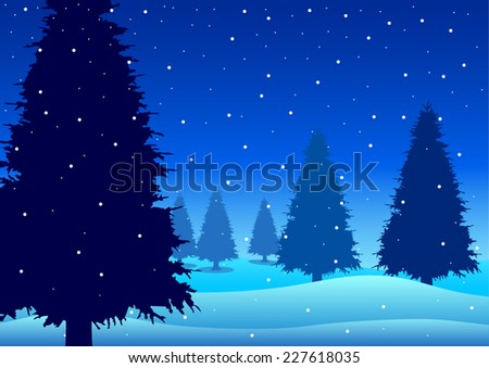 Vector illustration of pine trees on snowy hills