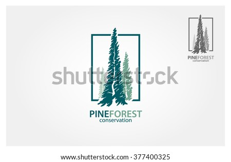 Vector illustration of pines tree. It's good for forest conservation logo - stock vector