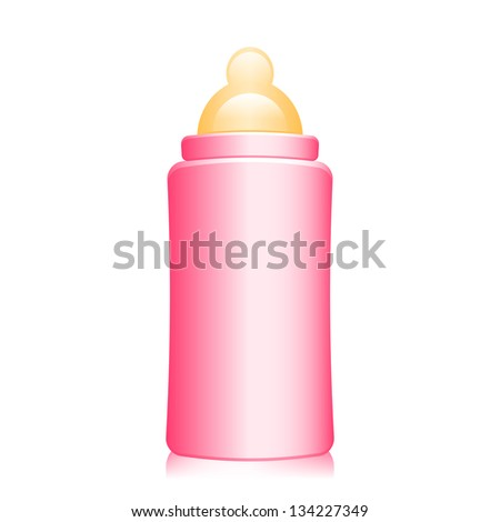 Vector illustration of pink baby bottle - stock vector