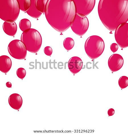 Vector Illustration of Pink Balloons - stock vector