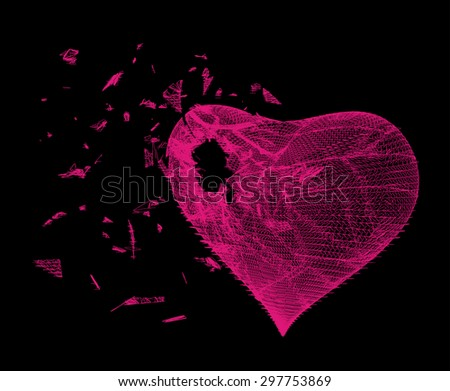 Vector illustration of pink heart made from lines and dots on black background, crushed to a pieces, stylized red mesh love symbol, Broken heart, Geometric background, Abstract 3D polygonal pattern. - stock vector