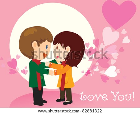 Vector illustration of pink lovers