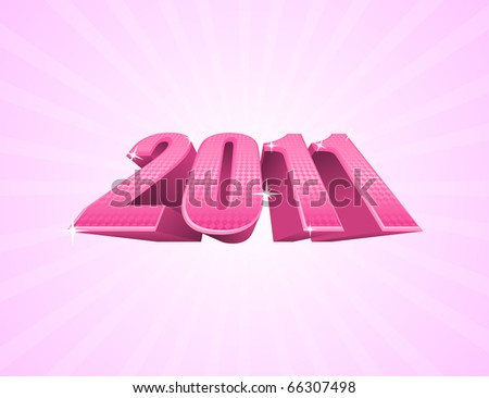 Vector illustration of pink 2011 year on light pink background - stock vector