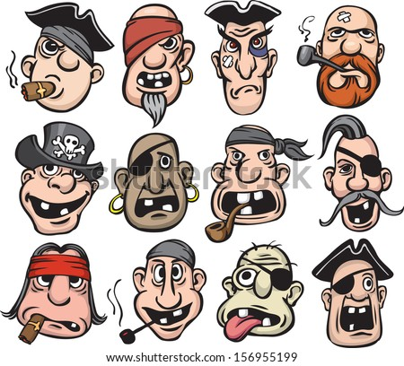 Vector illustration of pirate faces. Easy-edit layered vector EPS10 file scalable to any size without quality loss. High resolution raster JPG file is included. - stock vector