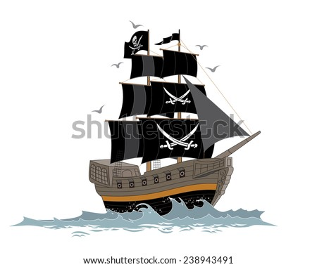 Vector Illustration of Pirate Ship - stock vector