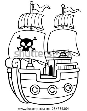 Vector Illustration Pirate Ship Coloring Book Stock Vector 286754354 ...