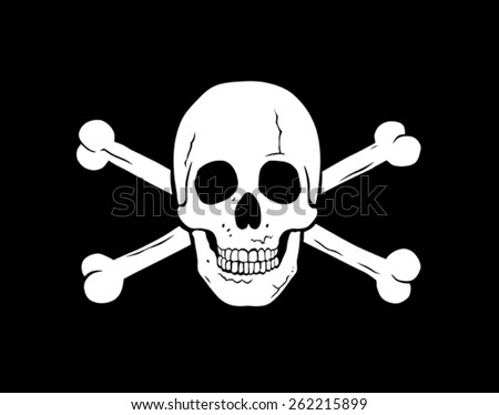 Vector illustration of piratical symbol jolly roger - stock vector