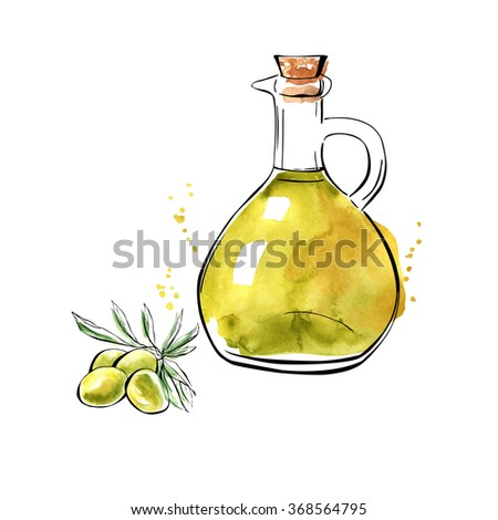 Vector illustration of pitcher with oil and bunch of olives. Hand drawn image of organic healthy food. Isolated sketchy objects on white background. Black outlines and watercolor stains and drips
