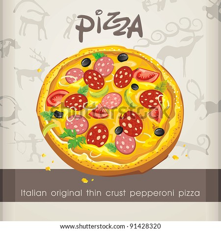 Vector illustration of Pizza classic with parsley. Abstract Elegance food. - stock vector