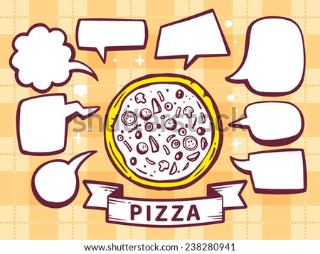 Vector illustration of pizza with speech comics bubbles on yellow pattern background. Line art design for web, site, advertising, banner, poster, board and print. - stock vector
