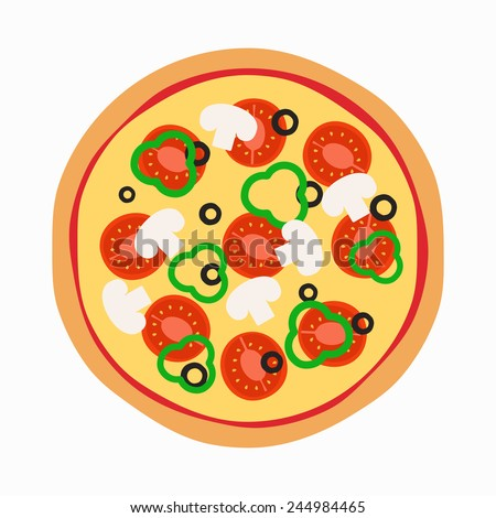 Vector illustration of pizza with tomato and mushrooms - stock vector