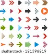 Vector illustration of plain arrow icons. Eps10. - stock photo