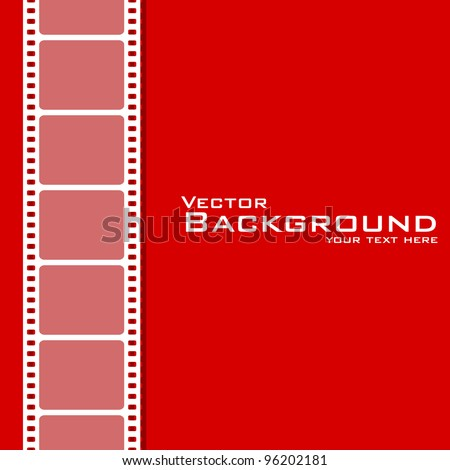 vector illustration of plain background with film stripe - stock vector