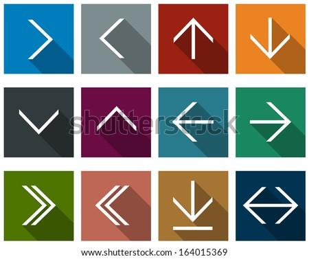 Vector illustration of plain square arrow icons. Flat design.   - stock vector