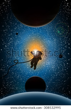 vector illustration of planets and sun,astronaut, sunrise in space, space design, universe concept, space research