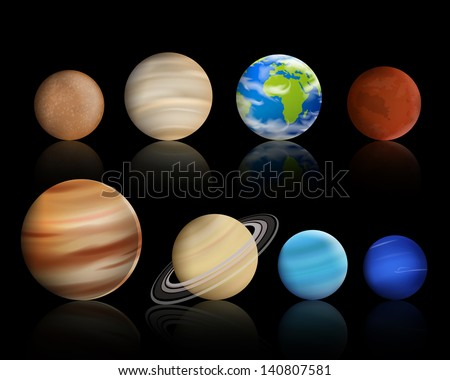 Vector Illustration of Planets in the Solar System - stock vector