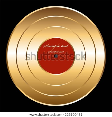 Vector illustration of Plate. Retro. Vintage. Gold  disc - stock vector