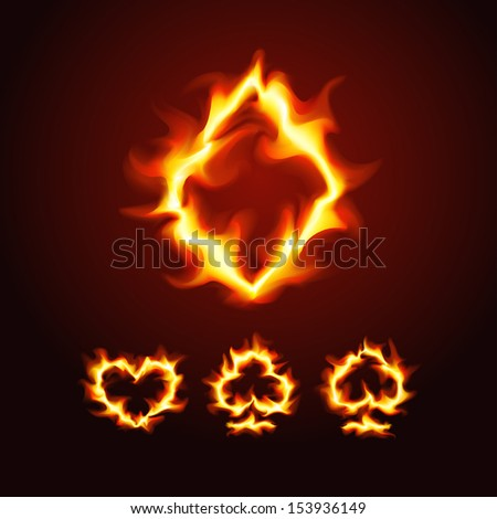 Vector illustration of playing card suits on fire