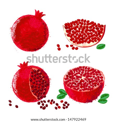 Vector illustration of pomegranate fruits. The drawing imitates dry brush watercolor technique. Set of four images for package design of juice boxes, jelly, jam. One of ancient holy Israeli symbols - stock vector