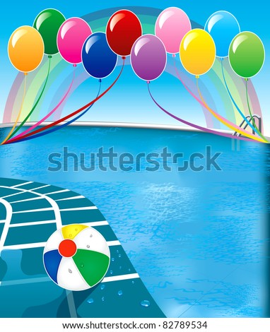Vector Illustration of pool party with balloons and beach ball. - stock vector