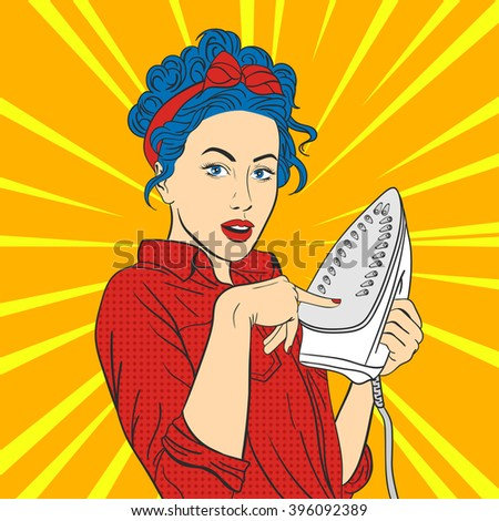 Vector illustration of pop art beautiful young surprised woman with iron. Retro Style. Woman touches hot iron with her finger.  - stock vector