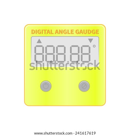 vector illustration of portable 360 degree inclinometer, mini digital protractor. magnetic surface. calibrating and angle measurement device