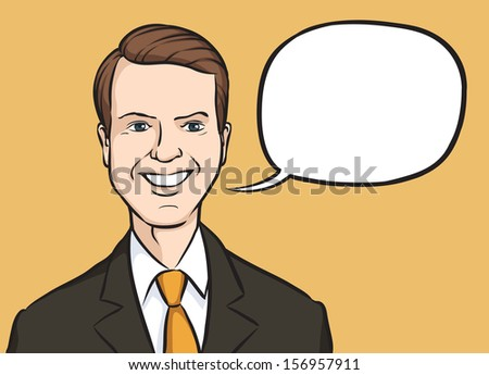 Vector illustration of portrait of a smiling manager with speech balloon. Easy-edit layered vector EPS10 file scalable to any size without quality loss. High resolution raster JPG file is included. - stock vector