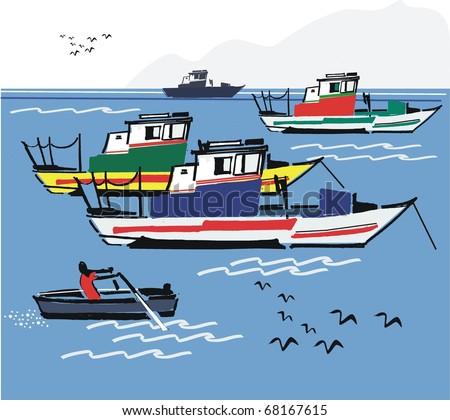 Vector illustration of Portuguese fishing boats, Algarve coast. - stock vector
