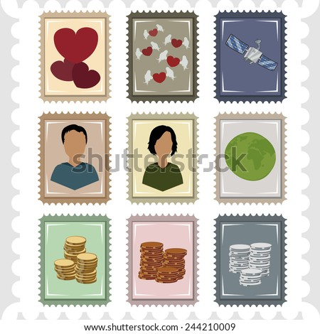 Vector illustration of postage stamps with the planet , people , coins, hearts and satellite. - stock vector