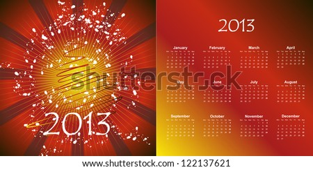 Vector illustration of postcard calendar to a new 2013 year