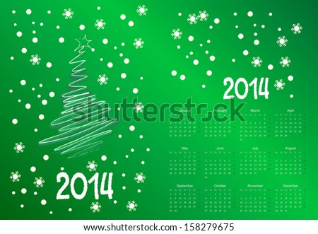 Vector illustration of postcard calendar to a new 2014 year
