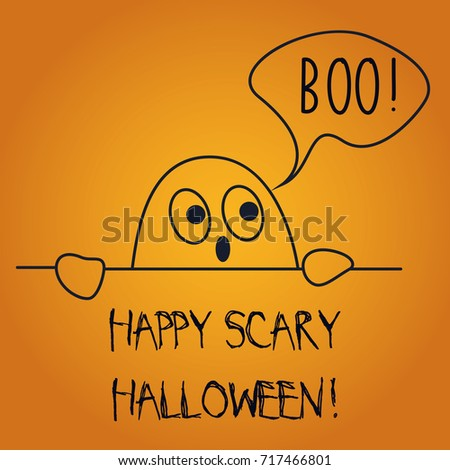 Vector Illustration Of Postcard Wishing Happy Scary Halloween With Cute  Ghost Saying Boo.