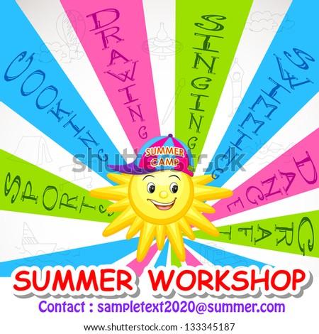 Vector Illustration Of Poster Design For Summer Art Workshop