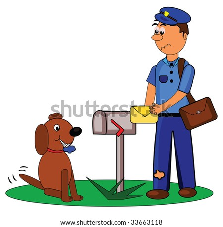 Vector illustration of postman and dog.