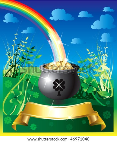 Vector Illustration of pot of gold rainbow with a colorful background and a place for text or imagery. - stock vector