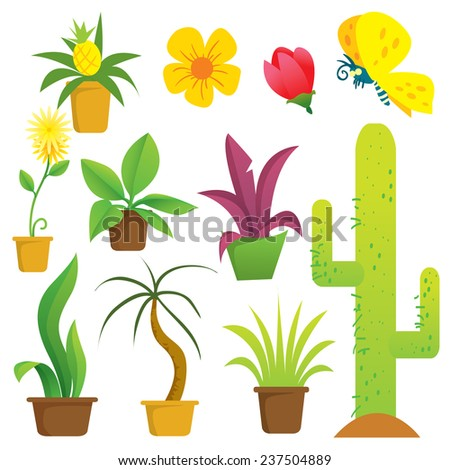 Vector illustration of potted plants in cartoon style - stock vector