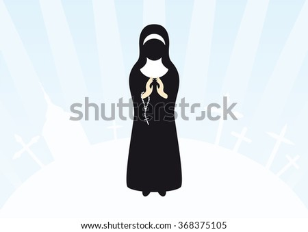Vector illustration of praying nun. Christian background with a nun and holy icons. Clasped hands in prayer. - stock vector