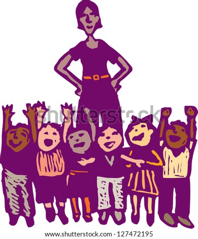 Vector illustration of preschool teacher and class of children - stock vector