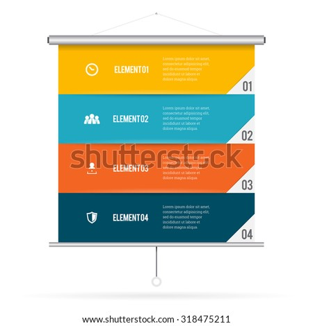 Vector illustration of presentation screen infographic design element. - stock vector