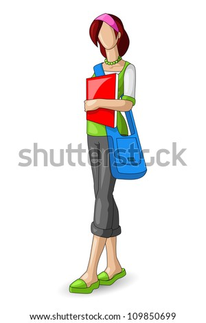 vector illustration of pretty female student with bag
