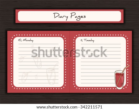 vector illustration of printable design of journal cards, notes, to do list, diary pages with cup of juice - stock vector