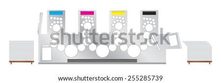 Vector illustration of Printing machine - offset printing press. - stock vector