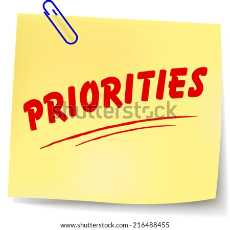 Vector illustration of priorities yellow note on white background - stock vector