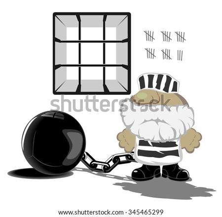 vector illustration of prisoner in jail - stock vector